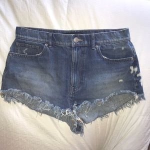 Express Distressed Cheeky Cut Off Jean Shorts